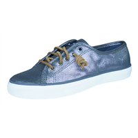 Sperry Seacoast Metallic Womens Leather Trainers / Shoes - Pewter Grey