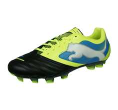 Puma PowerCat 1 FG Mens Leather Football Boots - Black and Yellow
