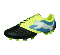 Puma PowerCat 2 FG Mens Leather Football Boots - Black and Yellow