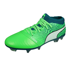 Puma One 18.2 FG Mens Leather Football Boots Firm Ground - Green
