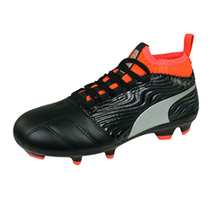 Puma One 18.3 AG Jr Boys Leather Astro Turf Football Boots - Black