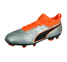 Puma One 3 Leather FG Jr Boys Football Boots Firm Ground - Silver