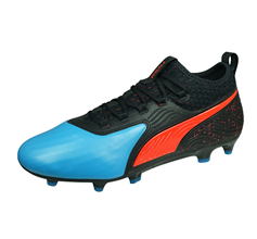 Puma ONE 19.2 FG/AG Mens Leather Football Boots / Cleats - Black and Blue