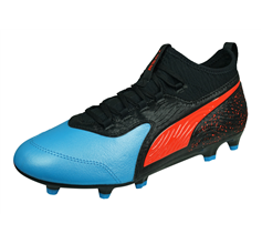 Puma ONE 19.3 FG/AG Mens Leather Football Boots / Cleats - Black and Blue