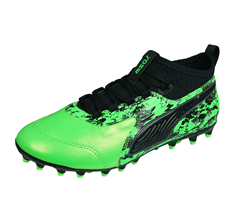 Puma ONE 19.3 MG Jr Boys Multiground Leather Football Boots - Green and Black