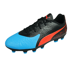 Puma One 19.4 HG Jr Boys Football Boots Hard Firm Ground - Black and Blue