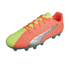 Puma One 20.4 HG Jr OSG Boys Football Boots Hard Firm Ground - Yellow and Peach