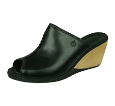Timberland Lascaux Slide Womens Leather Wedge Sandals / Mules - Black