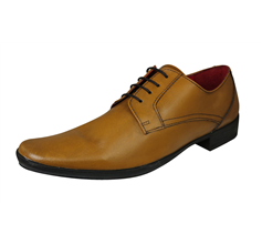 Lambretta Heath Mens Leather Smart Formal Lace Up Shoes - Tan