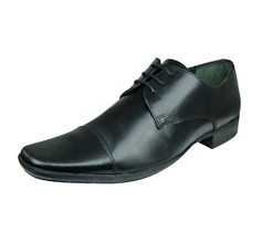 Lambretta Floyd Mens Leather Smart Formal Lace Up Shoes - Black