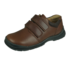 Start Rite Engineer Boys Leather School Shoes Hook and Loop - Brown