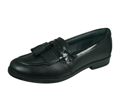 Start Rite Girls Leather School Shoes / Slip on Loafers - Black