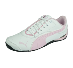 Puma Drift Cat III Girls Leather Trainers - White and Pink