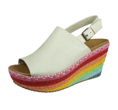 Skechers Brit Festival Daisy Womens Wedged Sandals - Off White