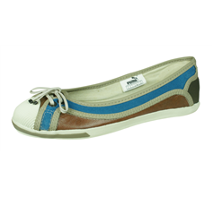 Puma Rudolf Dassler Wellensprung Womens Ballet Pumps / Shoes - Blue and Tan