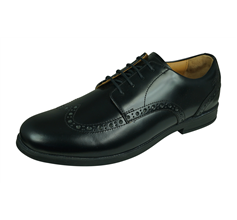 Start Rite Pinbrogue Senior Boys Leather School Shoes Lace Up - Black