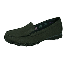 Skechers Bikers Hyphen Womens Slip On Comfort Loafer Shoes - Black
