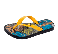 Ipanema BMX Kids Flip Flops - Black and Yellow