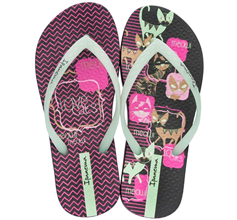 Ipanema Unique III Cats Girls Flip Flops / Sandals -  Black Glow