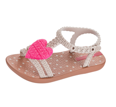 Baby My First Ipanema Heart Sandals Infant Girl Flip Flops - Pink and Tan