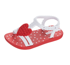 Baby My First Ipanema Heart Sandals Infant Girl Flip Flops - Red and White