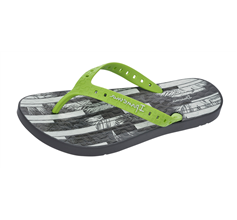 Ipanema Arpoador Mens Beach Flip Flops / Sandals - Grey and Lime