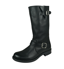 Cool Girls Adelle Leather Biker Boots - Black