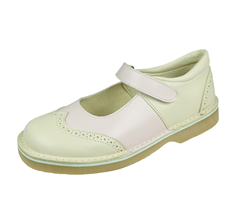 Angela Brown Alex Toddler Girls Leather Mary Jane School Shoes - Beige and Pink