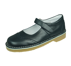 Angela Brown Alex Toddler Girls Leather Mary Jane School Shoes - Navy Blue