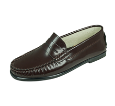 Angela Brown Ashley Boys Leather Loafer Smart School Shoes - Brown