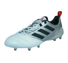 adidas Ace 17.1 FG Womens Leather Football Boots / Cleats - Metallic Silver and White