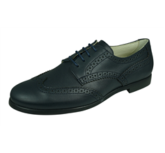 Angela Brown Bailey Kids Leather Brogue / Lace up Shoes - Navy Blue