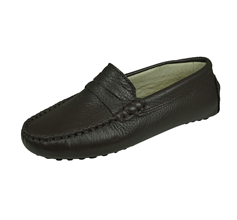 Angela Brown Barnie Boys Leather Moccasin Smart Shoes Slip on - Brown