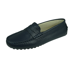 Angela Brown Barnie Boys Leather Moccasin Smart Shoes Slip on - Navy Blue