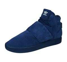 adidas Originals Tubular Invader Strap Mens Suede Trainers / High Tops - Blue