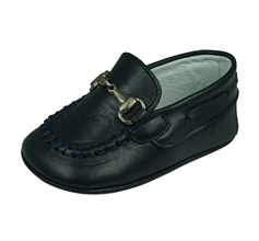 Cool Boys Bertie Baby Leather Shoes - Navy Blue