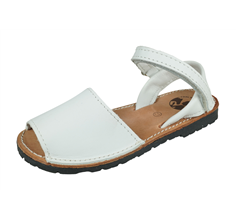 Cool Girls Boxcalf Girls Leather Riptape Sandals - White