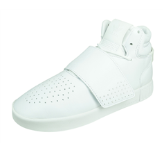 adidas Originals Tubular Invader Strap Mens Leather Trainers / High Tops - White