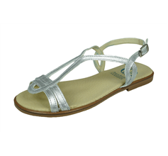 Angela Brown Chloe Girls Leather Strappy Sandals - Silver