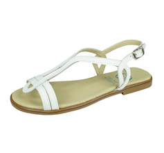 Angela Brown Chloe Kids Girls Leather Strappy Sandals - White