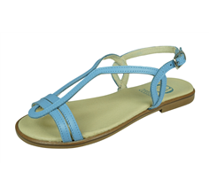 Angela Brown Chloe Kids Girls Leather Strappy Sandals - Blue