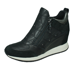 Geox D Nydame E Womens Leather Wedged Trainers / Boots - Black