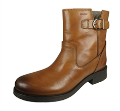 Geox D Rawelle D Womens Smooth Leather Ankle Boots - Cognac