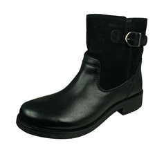 Geox D Rawelle D Womens Suede and Leather Ankle Boots - Black