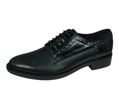 Geox D Brogue B Womens Leather Shoes - Black