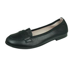 Angela Brown Emma Girls Leather Loafer / School shoes - Black
