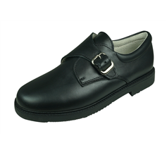 Angela Brown Fergus Boys Leather School Shoes Hook and Loop - Black
