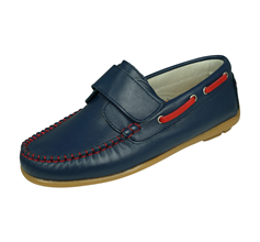 Angela Brown Finlay Boys Leather Boat Shoes Hook and Loop - Blue