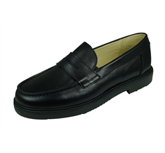 Cool Boys George Leather Primary School Shoes Slip On Loafer - Black