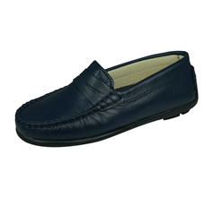 Cool Girls Hadley Leather Moccasins / Slip on Shoes - Blue